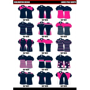 Sublimated Womens Polo Shirts Set in Sleeve