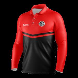 Sublimated Cricket Long Sleeve Polo Shirts Raglan Sleeve